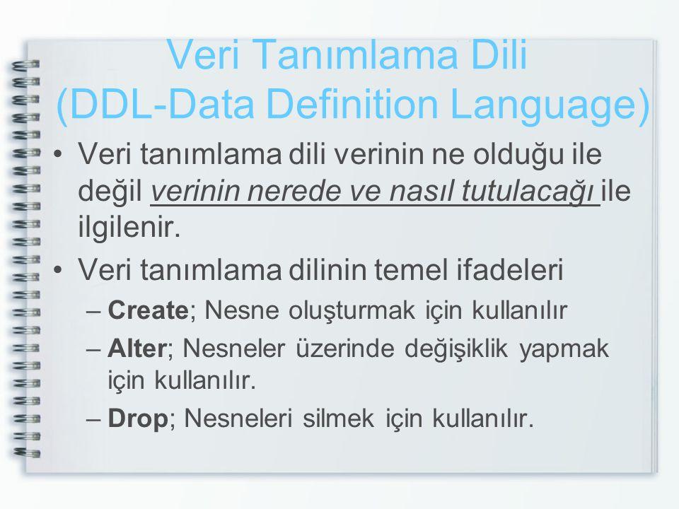 Veri Tanımlama Dili - Create •Create ; Veritabanı nesnelerini ve veritabanının kendisi oluşturmak için kullanılır.