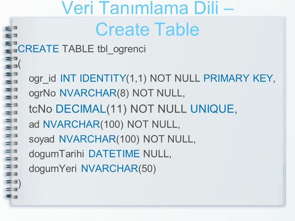 Veri Tanımlama Dili – Create Table CREATE TABLE tbl_ogrenci ( ogr_id INT IDENTITY(1,1) NOT NULL PRIMARY KEY, ogrNo NVARCHAR(8) NOT NULL, tcNo DECIMAL(