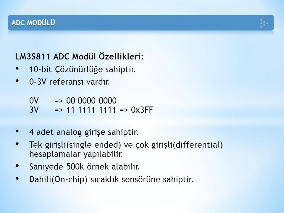 LM3S811 ADC Modül Özellikleri: • 10-bit Çözünürlüğe sahiptir.