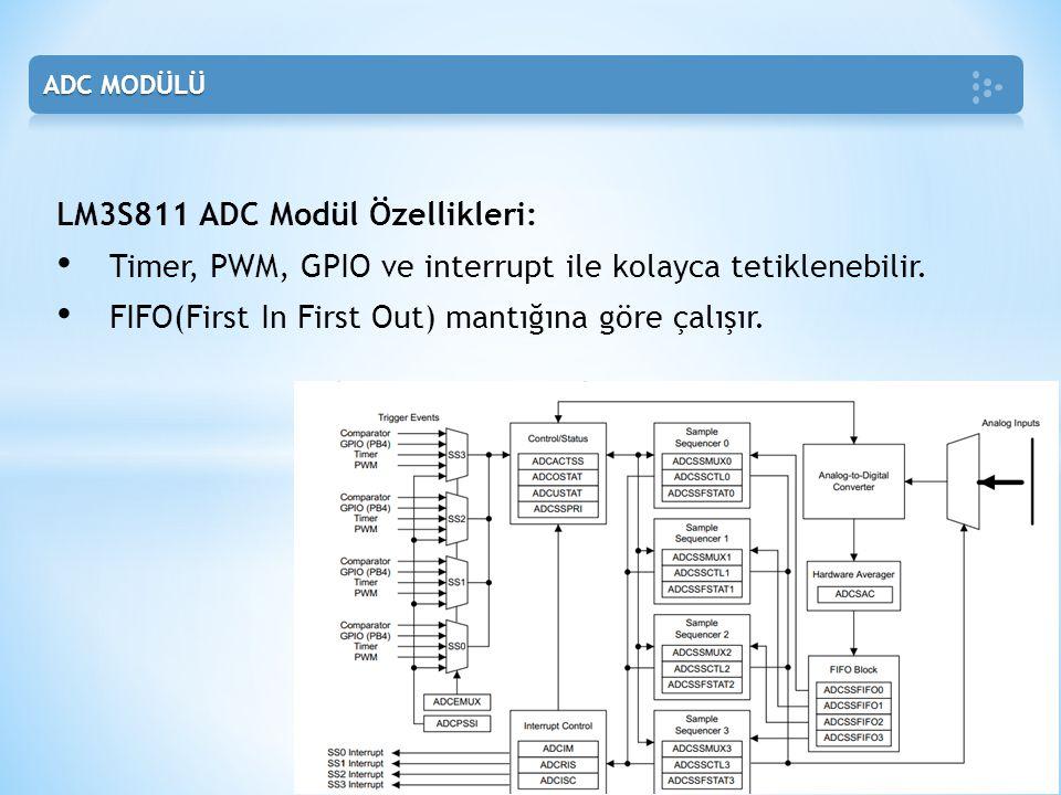 LM3S811 ADC Modül Özellikleri: • Timer, PWM, GPIO ve interrupt ile kolayca tetiklenebilir. • FIFO(First In First Out) mantığına göre çalışır.