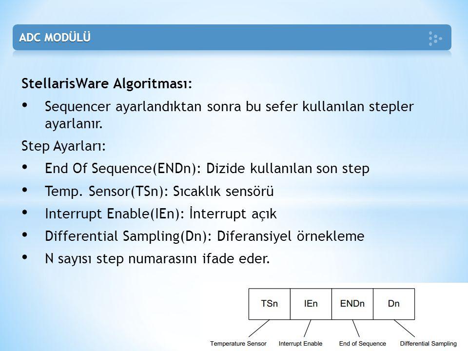 StellarisWare Algoritması: • Sequencer ayarlandıktan sonra bu sefer kullanılan stepler ayarlanır. Step Ayarları: • End Of Sequence(ENDn): Dizide kulla
