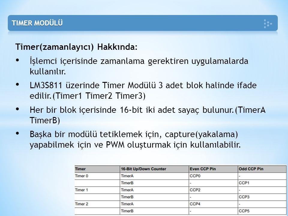 Timer(zamanlayıcı) Hakkında: • İşlemci içerisinde zamanlama gerektiren uygulamalarda kullanılır. • LM3S811 üzerinde Timer Modülü 3 adet blok halinde i
