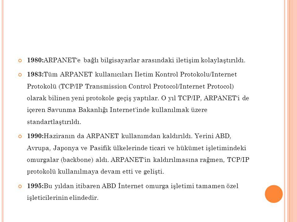 1980: ARPANET'e bağlı bilgisayarlar arasındaki iletişim kolaylaştırıldı. 1983: Tüm ARPANET kullanıcıları İletim Kontrol Protokolu/Internet Protokolü (