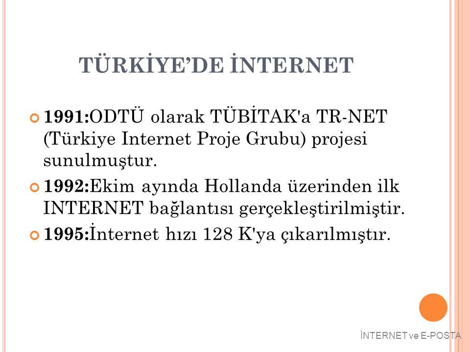 TÜRKİYE'DE İNTERNET 1991: ODTÜ olarak TÜBİTAK'a TR-NET (Türkiye Internet Proje Grubu) projesi sunulmuştur. 1992: Ekim ayında Hollanda üzerinden ilk IN