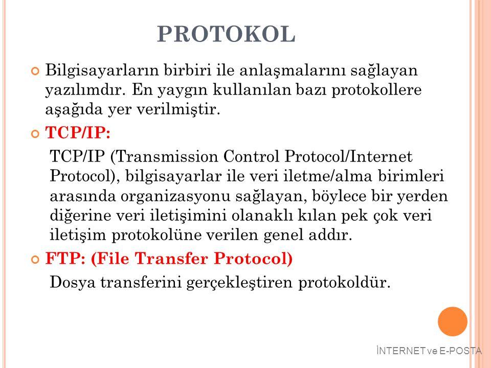 PROTOKOL Bilgisayarların birbiri ile anlaşmalarını sağlayan yazılımdır. En yaygın kullanılan bazı protokollere aşağıda yer verilmiştir. TCP/IP: TCP/IP
