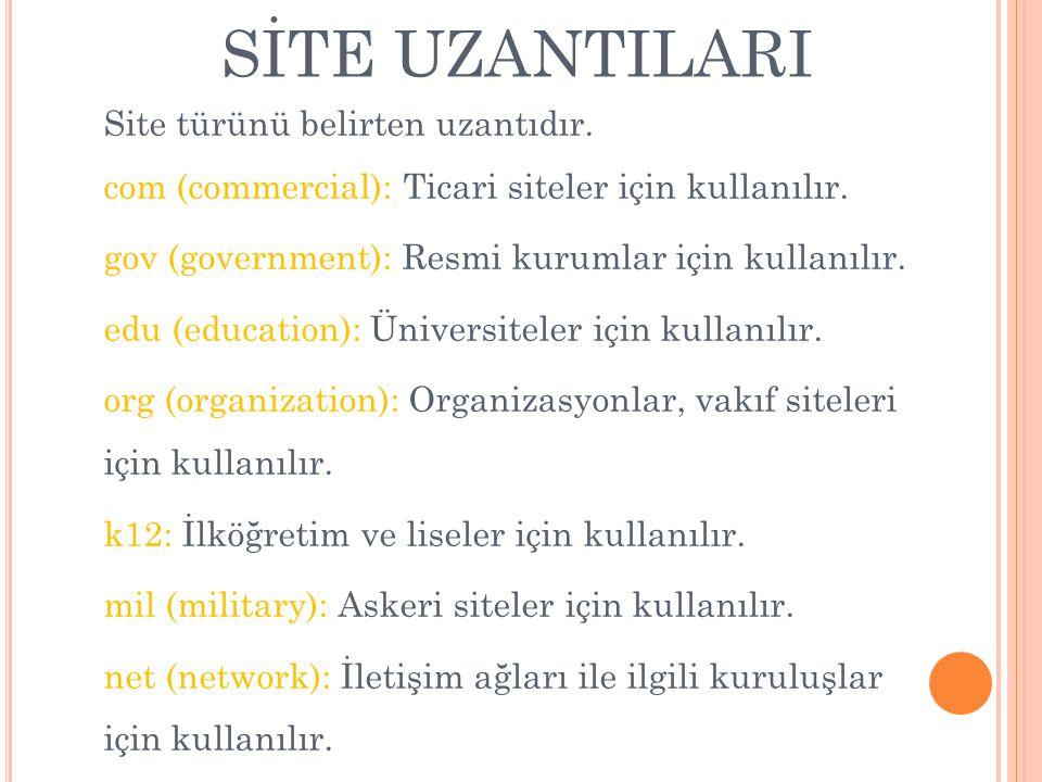 SİTE UZANTILARI Site türünü belirten uzantıdır. com (commercial): Ticari siteler için kullanılır. gov (government): Resmi kurumlar için kullanılır. ed