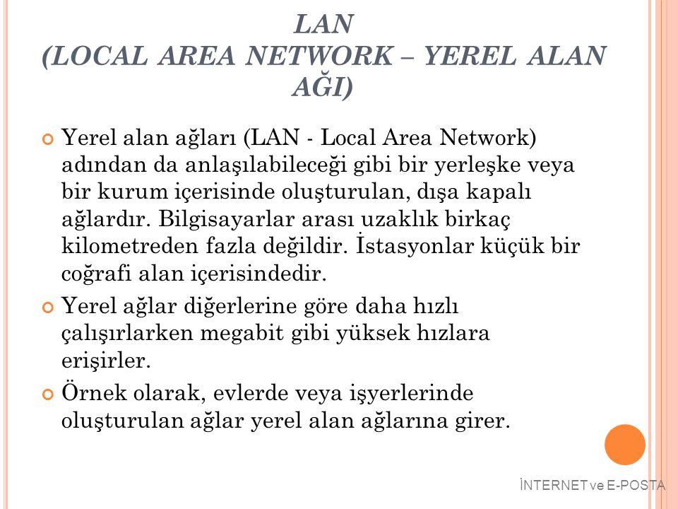 LAN (LOCAL AREA NETWORK – YEREL ALAN AĞI) Yerel alan ağları (LAN - Local Area Network) adından da anlaşılabileceği gibi bir yerleşke veya bir kurum iç