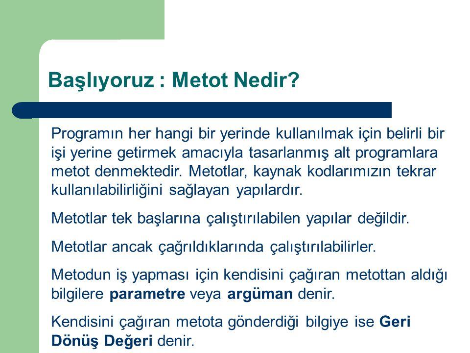 Başlıyoruz : Metot Nedir? Programın her hangi bir yerinde kullanılmak için belirli bir işi yerine getirmek amacıyla tasarlanmış alt programlara metot
