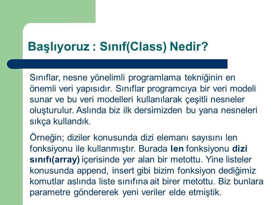 Başlıyoruz : Sınıf(Class) Nedir? Sınıflar, nesne yönelimli programlama tekniğinin en önemli veri yapısıdır. Sınıflar programcıya bir veri modeli sunar