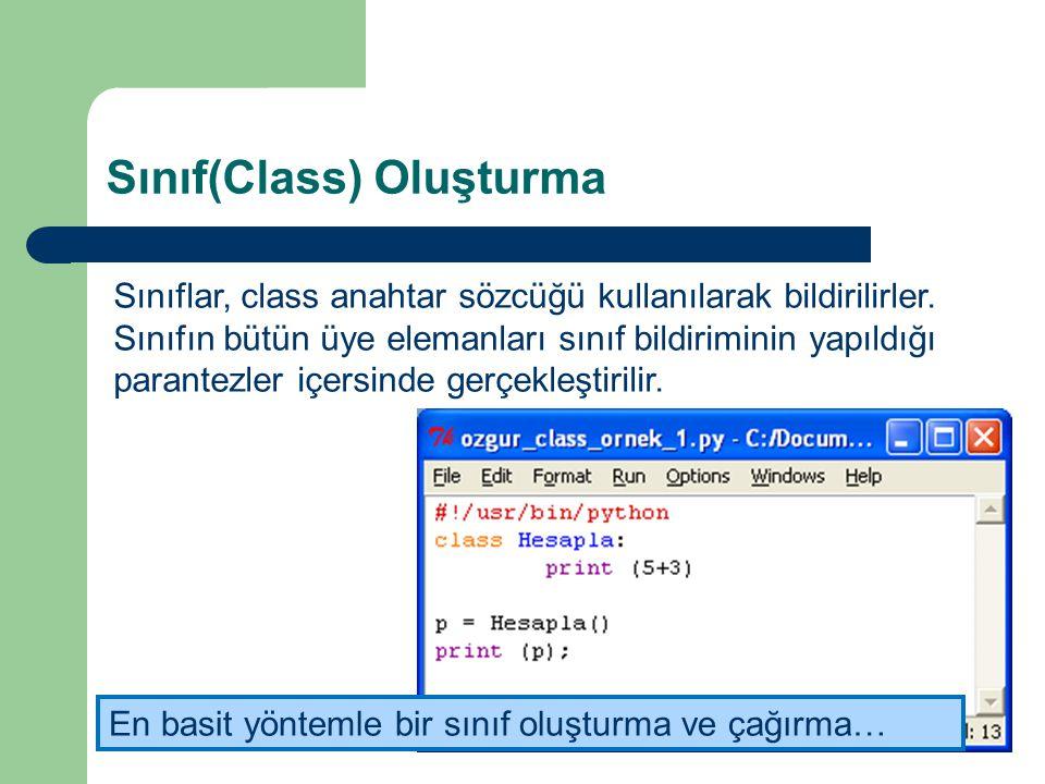 Sınıf(Class) Oluşturma Sınıflar, class anahtar sözcüğü kullanılarak bildirilirler. Sınıfın bütün üye elemanları sınıf bildiriminin yapıldığı parantezl