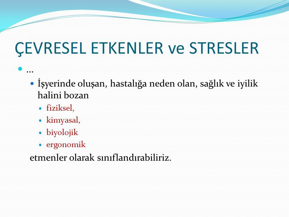 ÇEVRESEL ETKENLER ve STRESLER  …  İşyerinde oluşan, hastalığa neden olan, sağlık ve iyilik halini bozan  fiziksel,  kimyasal,  biyolojik  ergono