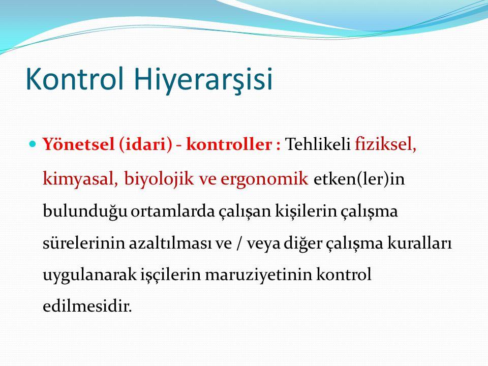  Yönetsel (idari) - kontroller : Tehlikeli fiziksel, kimyasal, biyolojik ve ergonomik etken(ler)in bulunduğu ortamlarda çalışan kişilerin çalışma sür