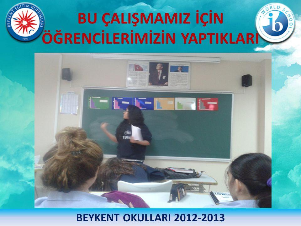 BU ÇALIŞMAMIZ İÇİN ÖĞRENCİLERİMİZİN YAPTIKLARI BEYKENT OKULLARI 2012-2013