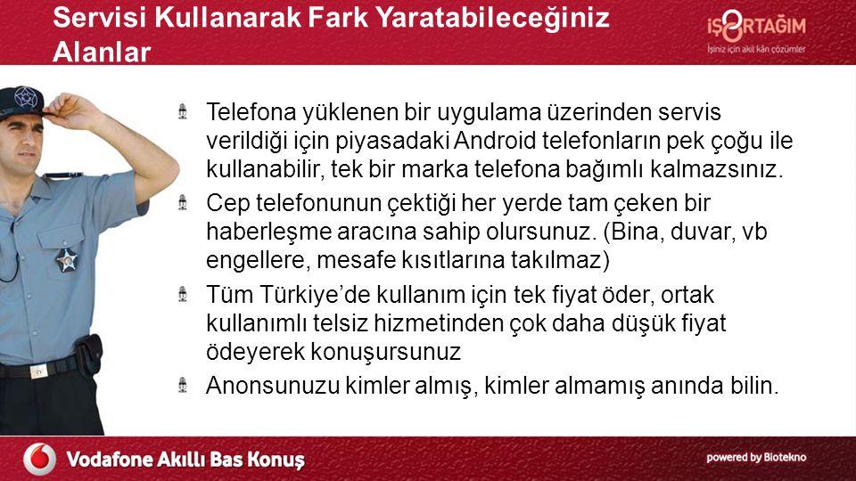 VABK Servisini Diğer Bas Konuş Servislerinden Farklılaştıran Özellikleri Tüm Türkiye'de kullanım için tek fiyat, doya doya bas konuş Tüm Türkiye'de kullanım için tek fiyat ödersiniz Ortak kullanımlı telsiz hizmetinden çok daha düşük fiyat ödeyerek konuşursunuz Devlete ödenen ilave kullanım ve ruhsat ücretleri ödemezsiniz.