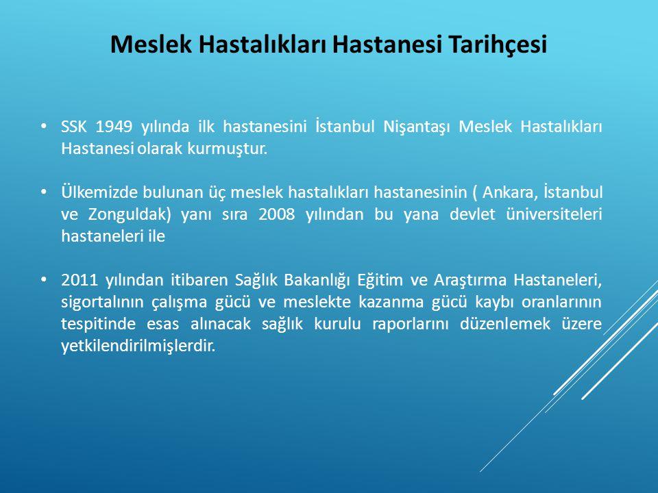 Meslek Hastalıkları Hastanesi Tarihçesi • SSK 1949 yılında ilk hastanesini İstanbul Nişantaşı Meslek Hastalıkları Hastanesi olarak kurmuştur. • Ülkemi