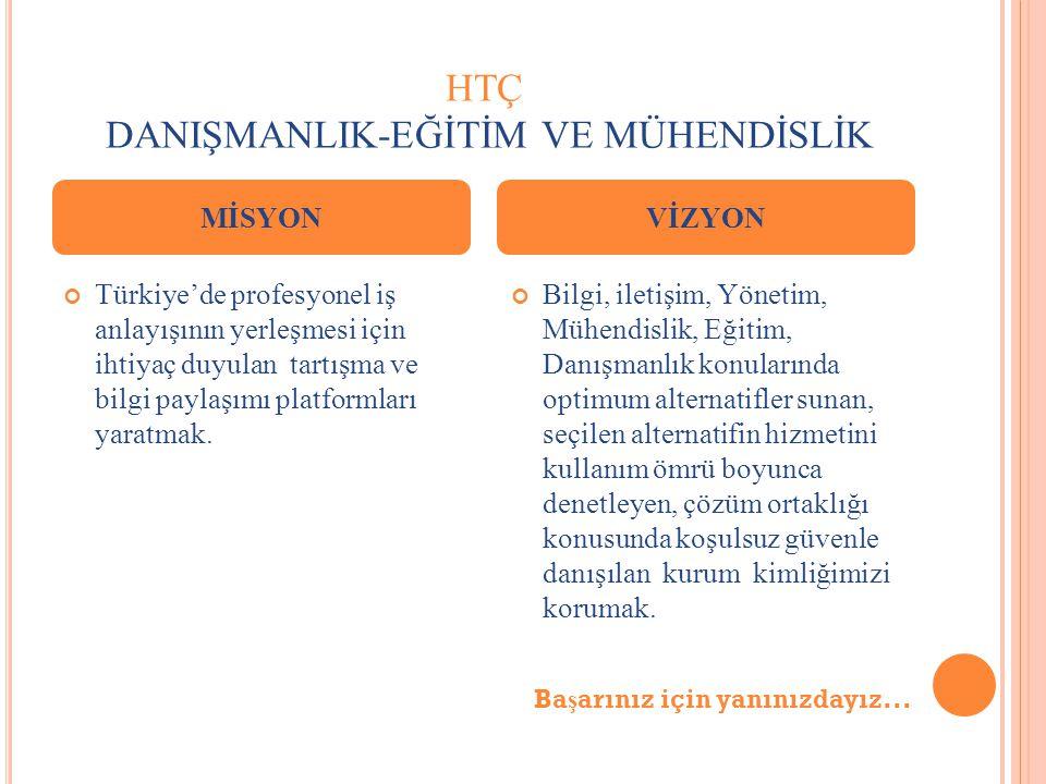 HTÇ DANIŞMANLIK-EĞİTİM VE MÜHENDİSLİK Türkiye'de profesyonel iş anlayışının yerleşmesi için ihtiyaç duyulan tartışma ve bilgi paylaşımı platformları yaratmak.