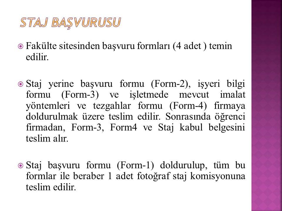  Fakülte sitesinden başvuru formları (4 adet ) temin edilir.  Staj yerine başvuru formu (Form-2), işyeri bilgi formu (Form-3) ve işletmede mevcut im