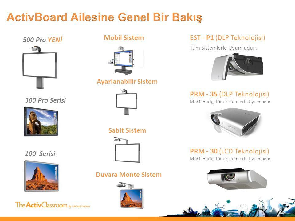 500 Pro YENİ 300 Pro Serisi 100 Serisi Mobil Sistem Ayarlanabilir Sistem Sabit Sistem Duvara Monte Sistem EST - P1 (DLP Teknolojisi) Tüm Sistemlerle Uyumludur.
