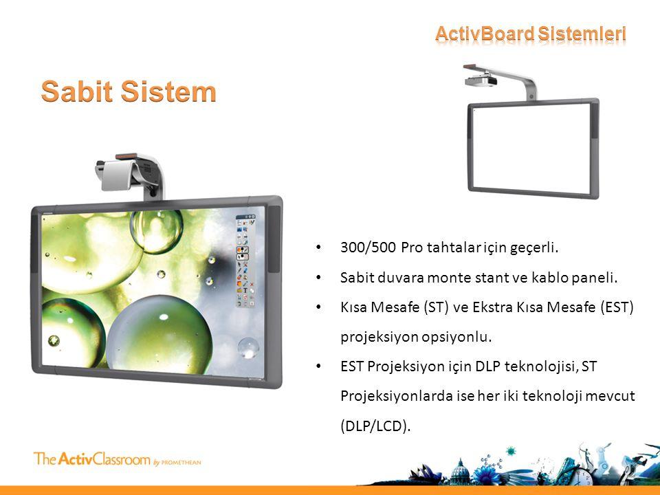 • 300/500 Pro tahtalar için geçerli. • Sabit duvara monte stant ve kablo paneli.