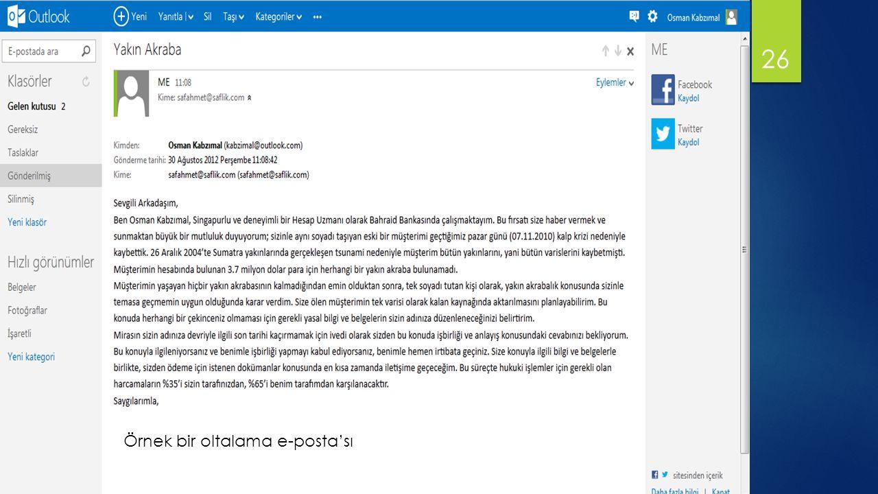26 Örnek bir oltalama e-posta'sı