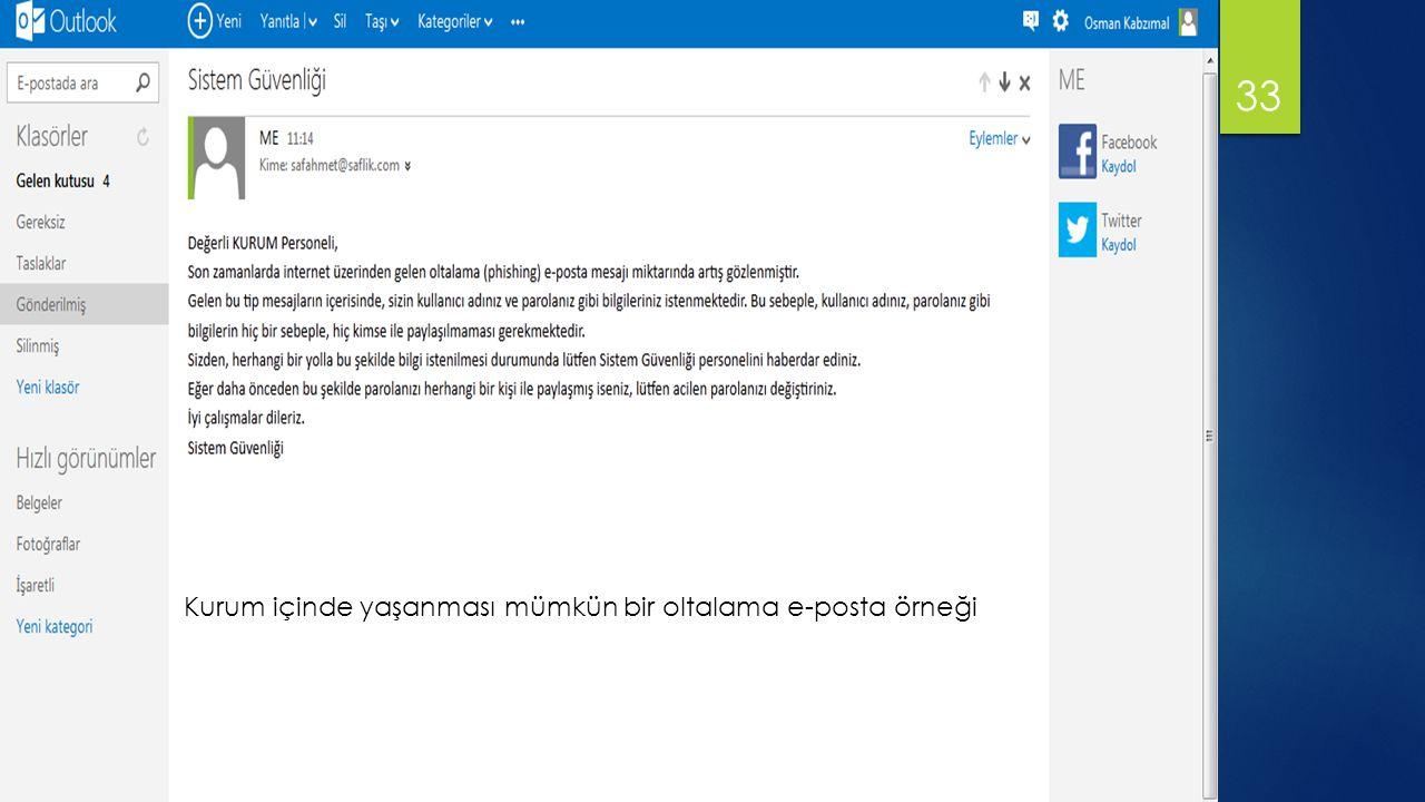 33 Kurum içinde yaşanması mümkün bir oltalama e-posta örneği