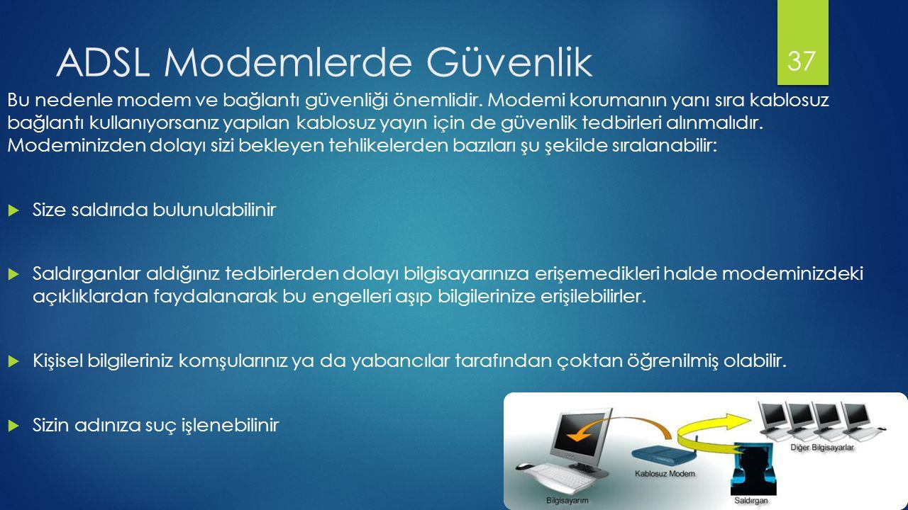 ADSL Modemlerde Güvenlik Bu nedenle modem ve bağlantı güvenliği önemlidir.