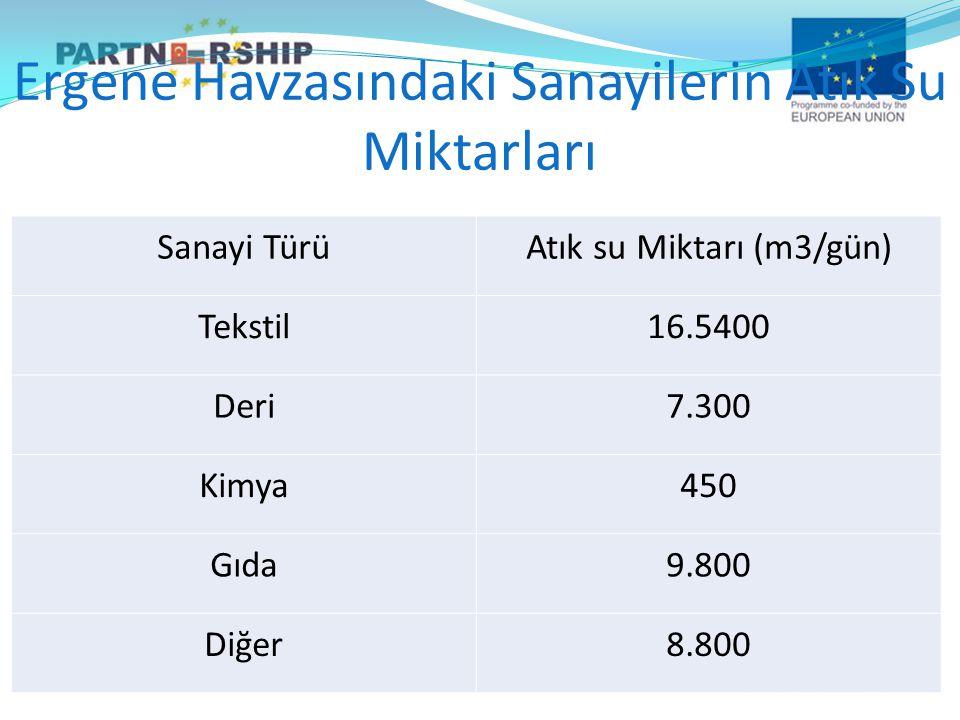 Sanayi TürüAtık su Miktarı (m3/gün) Tekstil16.5400 Deri7.300 Kimya450 Gıda9.800 Diğer8.800 Ergene Havzasındaki Sanayilerin Atık Su Miktarları