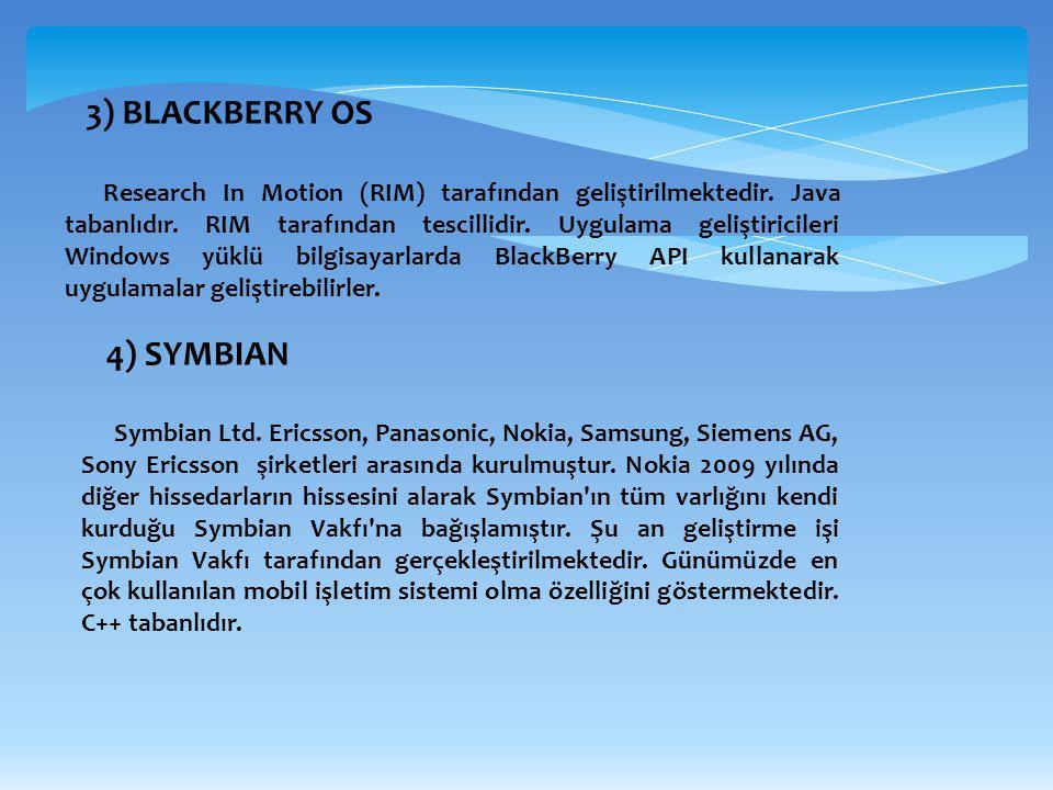 3) BLACKBERRY OS Research In Motion (RIM) tarafından geliştirilmektedir. Java tabanlıdır. RIM tarafından tescillidir. Uygulama geliştiricileri Windows