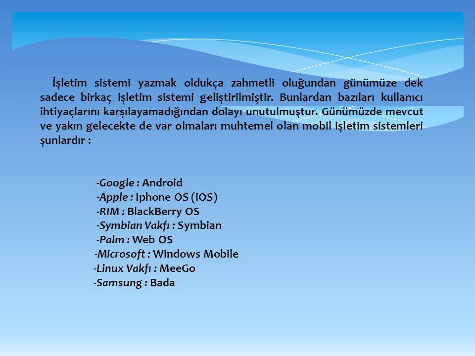 1 ) ANDROID Google ve Open Handset Allience (OHA) tarafından kodlanmış açık kaynak kodlu bir işletim sistemidir.