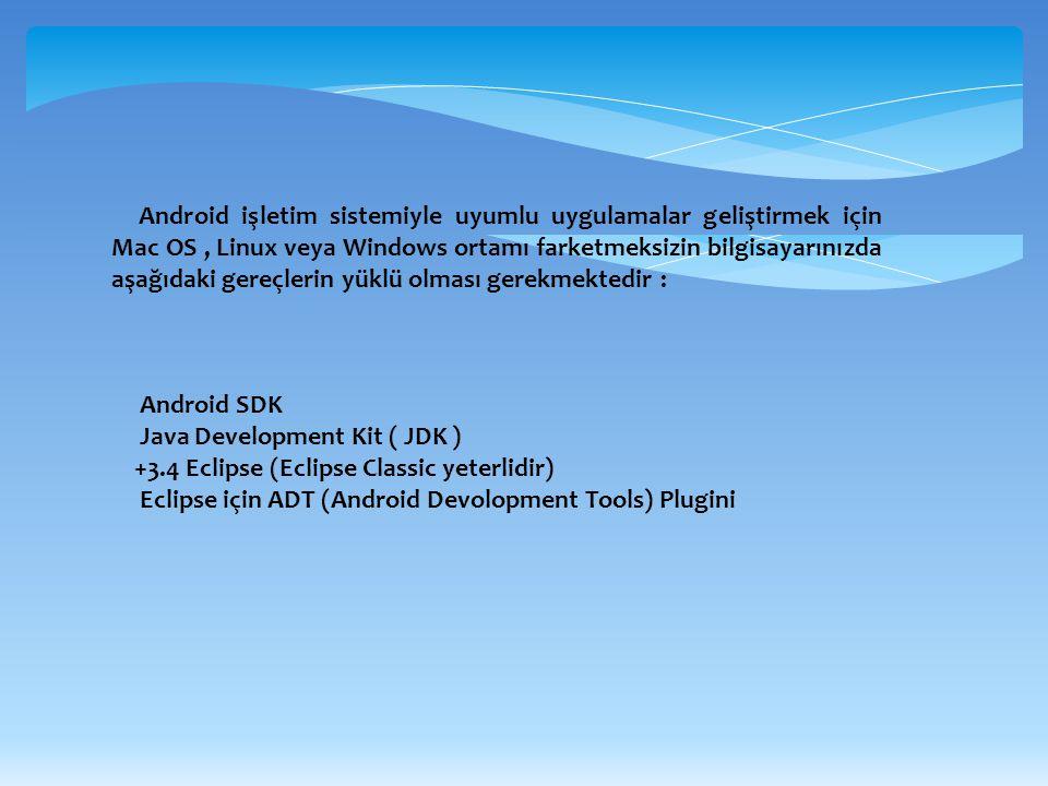 Android işletim sistemiyle uyumlu uygulamalar geliştirmek için Mac OS, Linux veya Windows ortamı farketmeksizin bilgisayarınızda aşağıdaki gereçlerin
