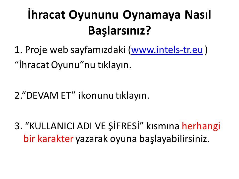 """İhracat Oyununu Oynamaya Nasıl Başlarsınız? 1. Proje web sayfamızdaki (www.intels-tr.eu )www.intels-tr.eu """"İhracat Oyunu""""nu tıklayın. 2.""""DEVAM ET"""" iko"""