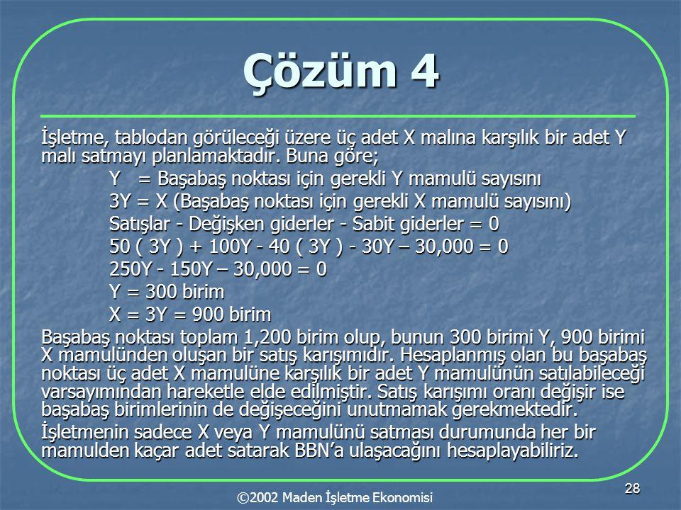 28 Çözüm 4 İşletme, tablodan görüleceği üzere üç adet X malına karşılık bir adet Y malı satmayı planlamaktadır. Buna göre; Y = Başabaş noktası için ge