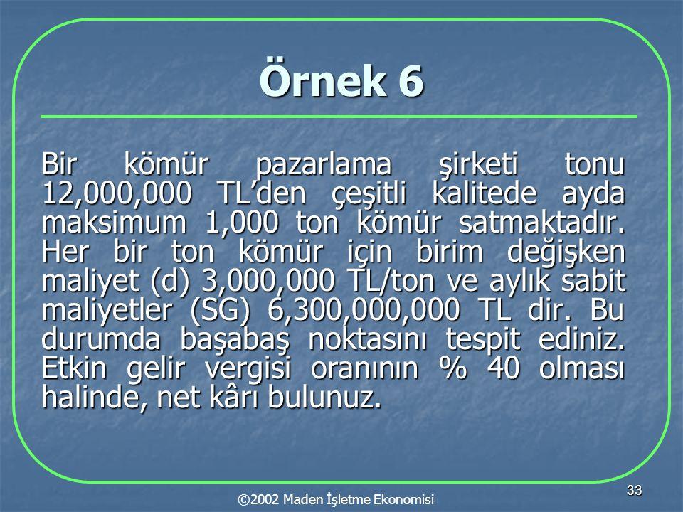 33 Örnek 6 Bir kömür pazarlama şirketi tonu 12,000,000 TL'den çeşitli kalitede ayda maksimum 1,000 ton kömür satmaktadır. Her bir ton kömür için birim