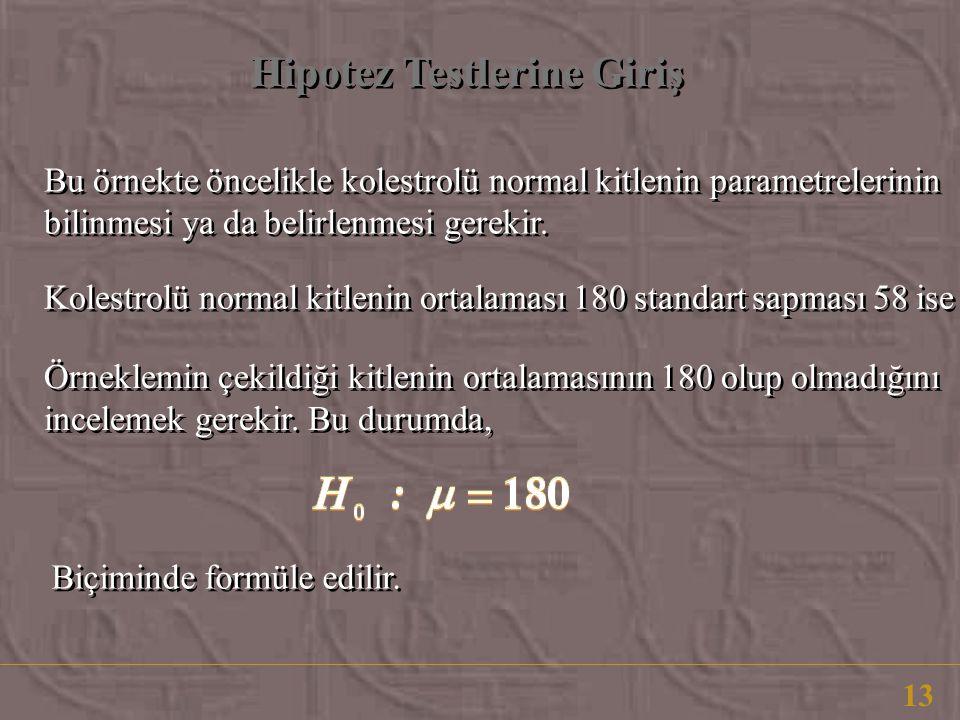 Hipotez Testlerine Giriş 13 Bu örnekte öncelikle kolestrolü normal kitlenin parametrelerinin bilinmesi ya da belirlenmesi gerekir. Kolestrolü normal k