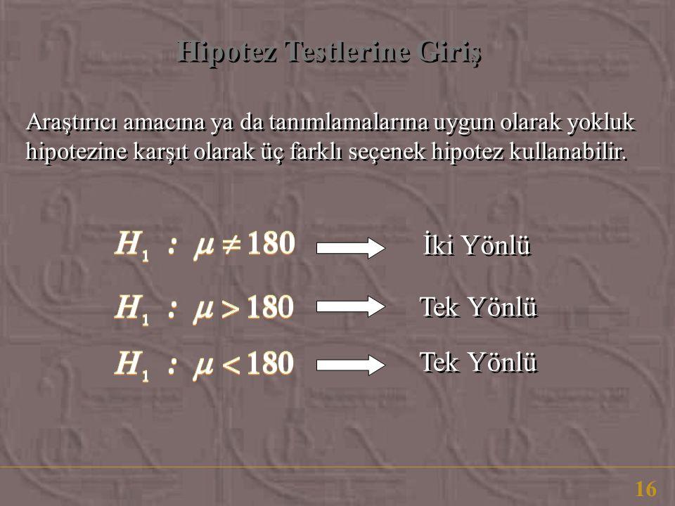Hipotez Testlerine Giriş 16 Araştırıcı amacına ya da tanımlamalarına uygun olarak yokluk hipotezine karşıt olarak üç farklı seçenek hipotez kullanabilir.