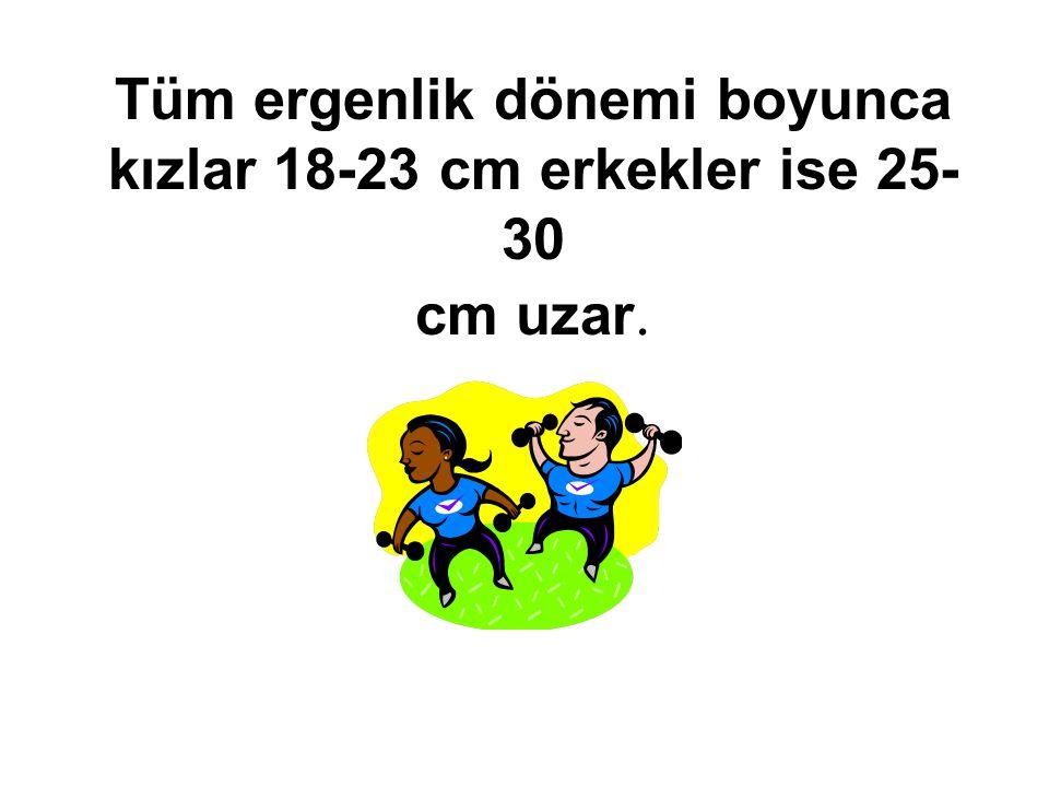 Tüm ergenlik dönemi boyunca kızlar 18-23 cm erkekler ise 25- 30 cm uzar.