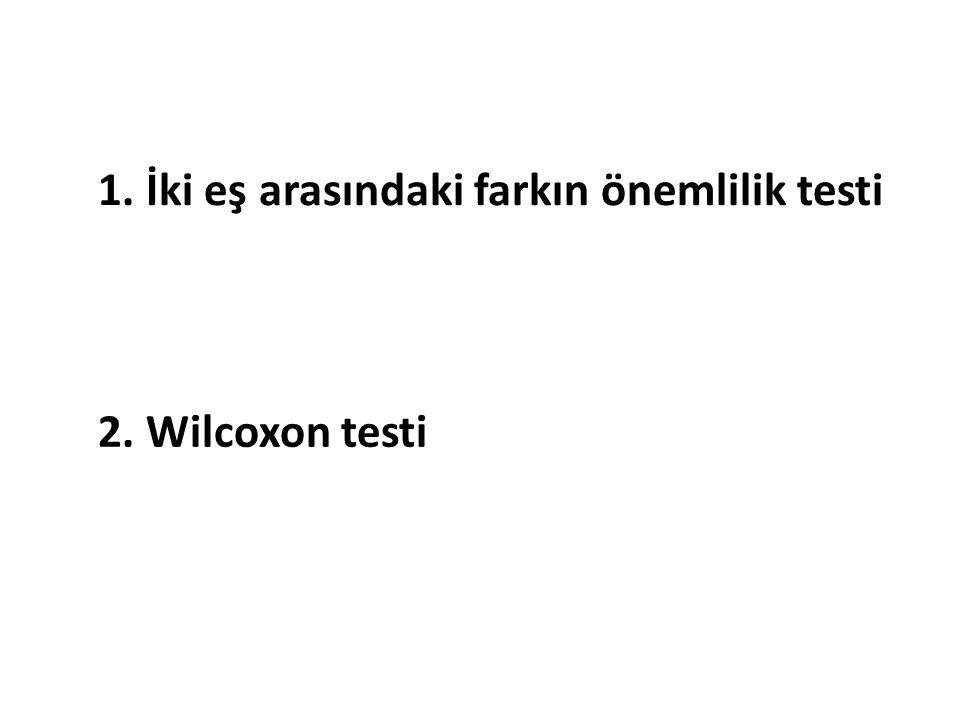 1. İki eş arasındaki farkın önemlilik testi 2. Wilcoxon testi