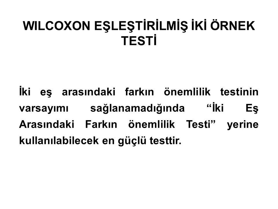 WILCOXON EŞLEŞTİRİLMİŞ İKİ ÖRNEK TESTİ İki eş arasındaki farkın önemlilik testinin varsayımı sağlanamadığında İki Eş Arasındaki Farkın önemlilik Testi yerine kullanılabilecek en güçlü testtir.