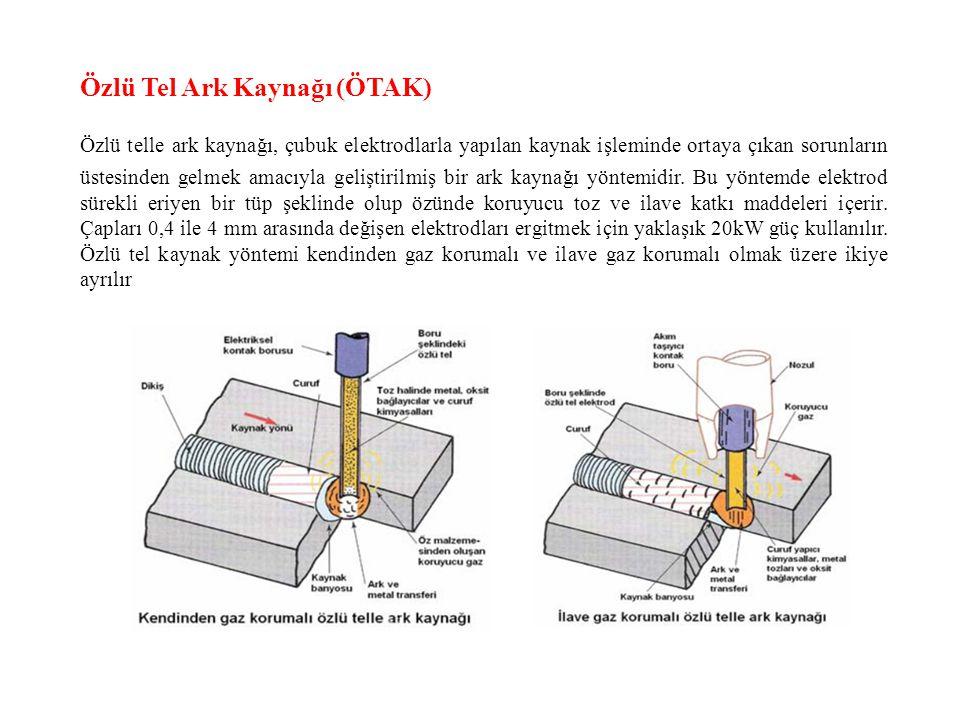 Özlü Tel Ark Kaynağı (ÖTAK) Özlü telle ark kaynağı, çubuk elektrodlarla yapılan kaynak işleminde ortaya çıkan sorunların üstesinden gelmek amacıyla ge