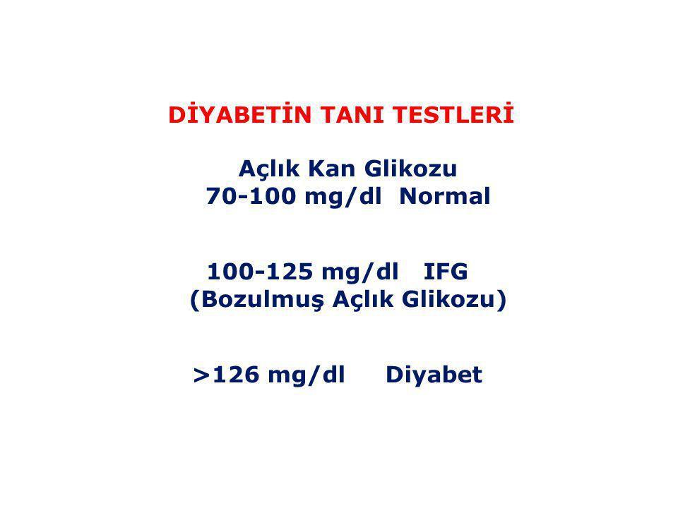 Diyabette Koruyucu Önlemler • Kan şekeri ölçümü • Kan basıncı ölçümü • Ayak muayenesi • İdrarda protein varlığına yönelik test • Kolesterol testi • Göz muayenesi • Diş kontrolleri • EKG (Kalp grafisi) düzenli olarak yapılmalıdır.