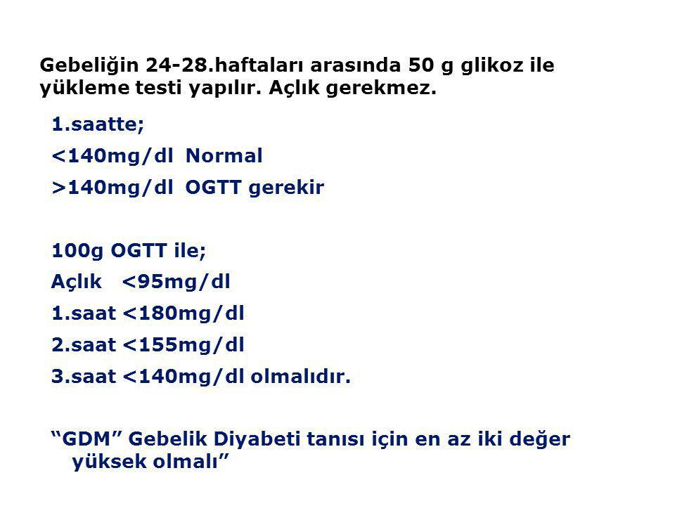 Tokluk Kan Glikozu (2. saat değeri) >200 mg/dl Diyabet OGTT(75 gr glikoz ile) (Yemekten 2 saat sonraki değer) 200 mg/dl Diyabet