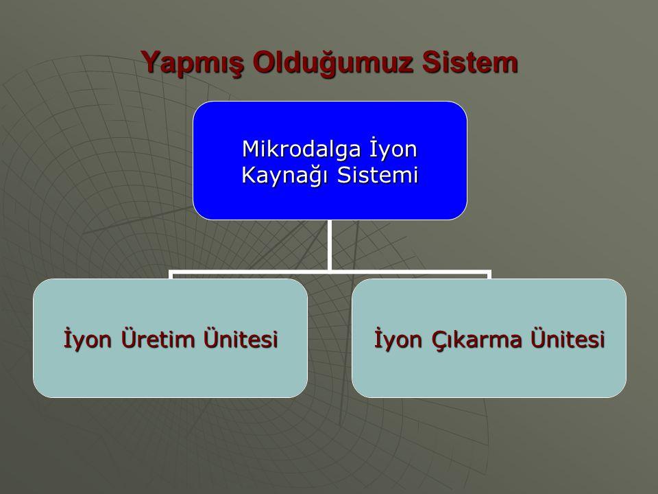 Yapmış Olduğumuz Sistem Mikrodalga İyon Kaynağı Sistemi İyon Üretim Ünitesi İyon Çıkarma Ünitesi