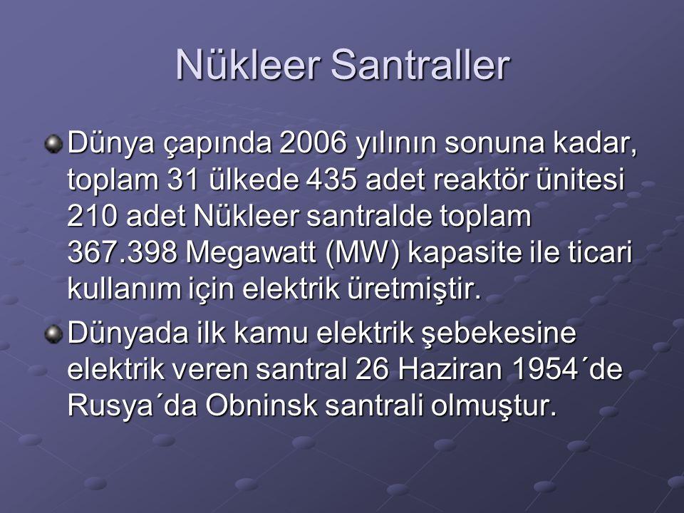 Nükleer Santraller Dünya çapında 2006 yılının sonuna kadar, toplam 31 ülkede 435 adet reaktör ünitesi 210 adet Nükleer santralde toplam 367.398 Megawa