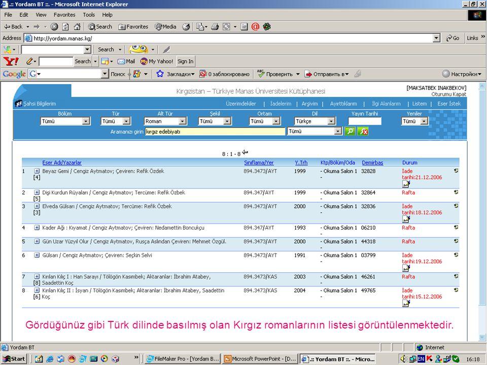 Gördüğünüz gibi Türk dilinde basılmış olan Kırgız romanlarının listesi görüntülenmektedir.