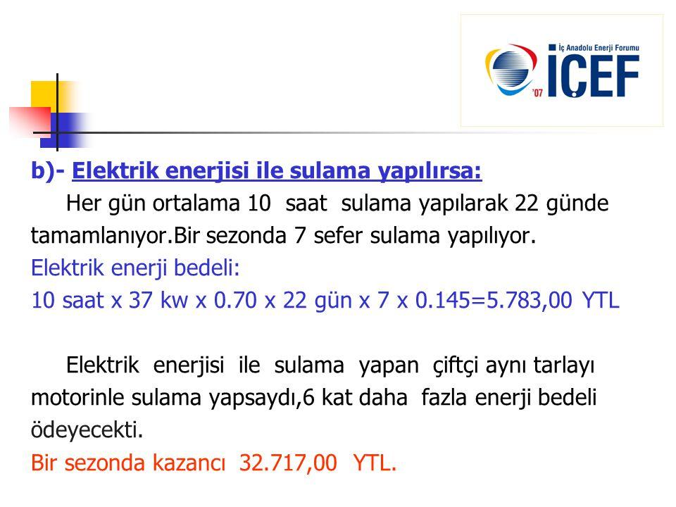 b)- Elektrik enerjisi ile sulama yapılırsa: Her gün ortalama 10 saat sulama yapılarak 22 günde tamamlanıyor.Bir sezonda 7 sefer sulama yapılıyor. Elek