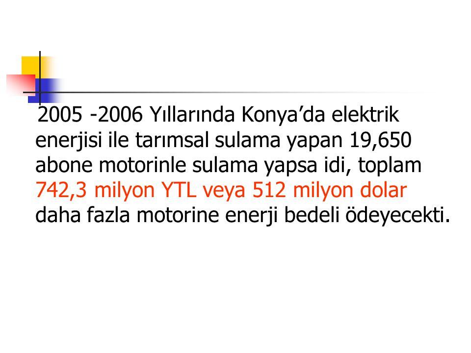 2005 -2006 Yıllarında Konya'da elektrik enerjisi ile tarımsal sulama yapan 19,650 abone motorinle sulama yapsa idi, toplam 742,3 milyon YTL veya 512 m