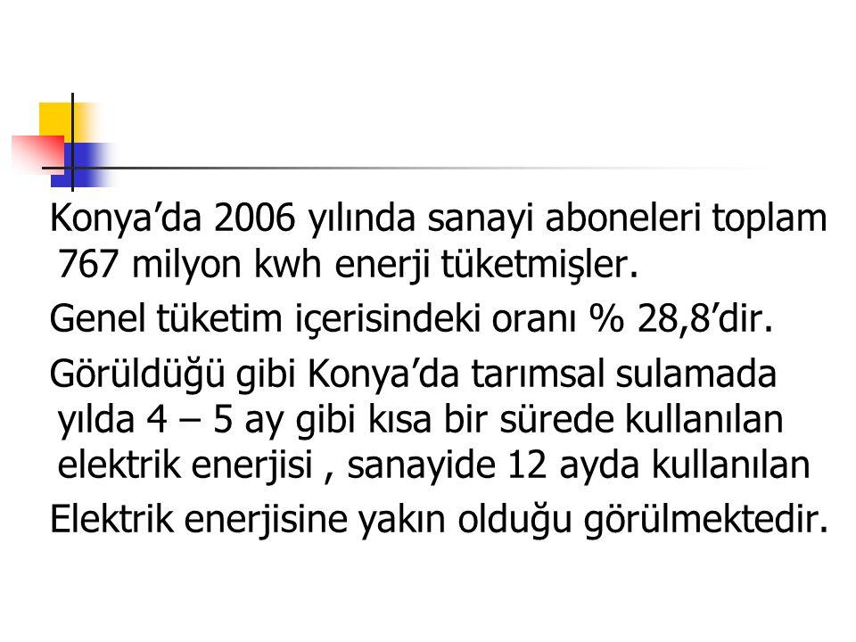 Konya'da 2006 yılında sanayi aboneleri toplam 767 milyon kwh enerji tüketmişler. Genel tüketim içerisindeki oranı % 28,8'dir. Görüldüğü gibi Konya'da