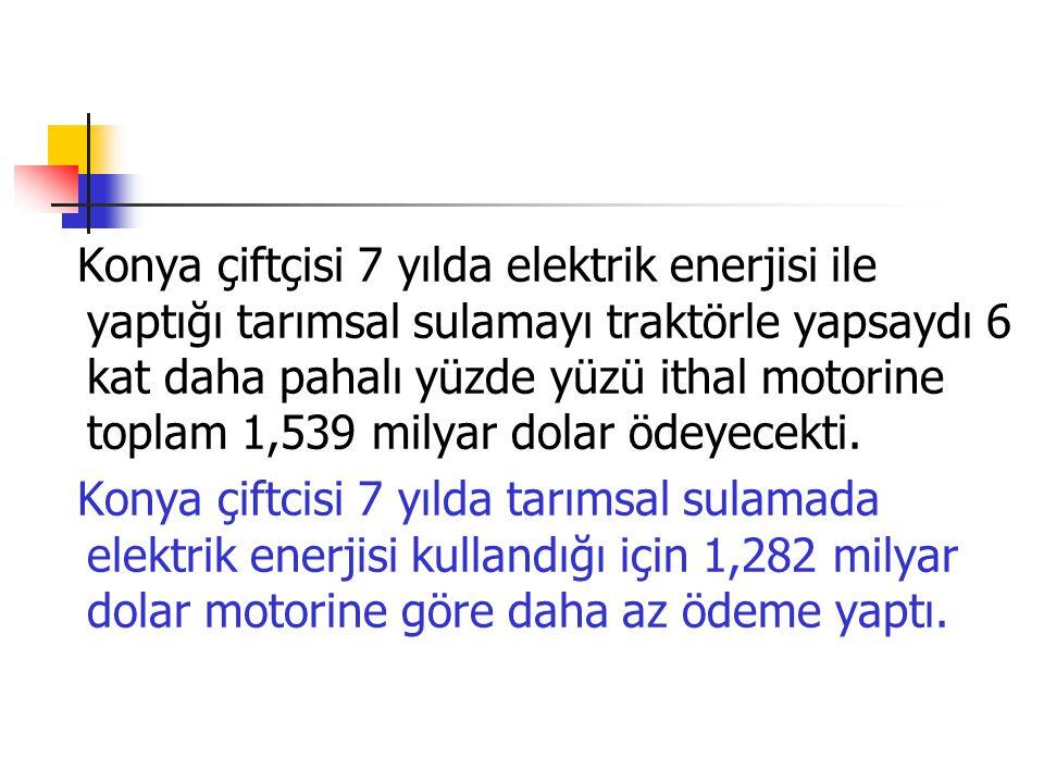 Konya çiftçisi 7 yılda elektrik enerjisi ile yaptığı tarımsal sulamayı traktörle yapsaydı 6 kat daha pahalı yüzde yüzü ithal motorine toplam 1,539 mil