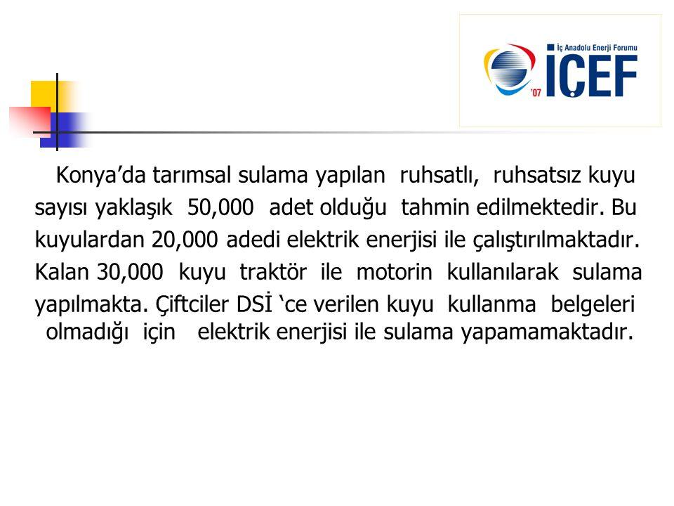 Konya'da tarımsal sulama yapılan ruhsatlı, ruhsatsız kuyu sayısı yaklaşık 50,000 adet olduğu tahmin edilmektedir. Bu kuyulardan 20,000 adedi elektrik