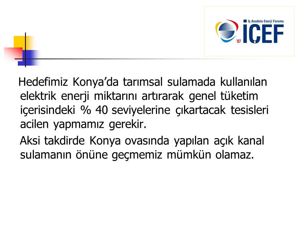 Hedefimiz Konya'da tarımsal sulamada kullanılan elektrik enerji miktarını artırarak genel tüketim içerisindeki % 40 seviyelerine çıkartacak tesisleri